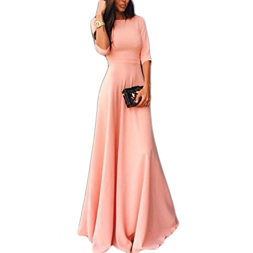 Vestido de festa longo rosa com mangas 3/4 da Vin Beauty, rosa, M