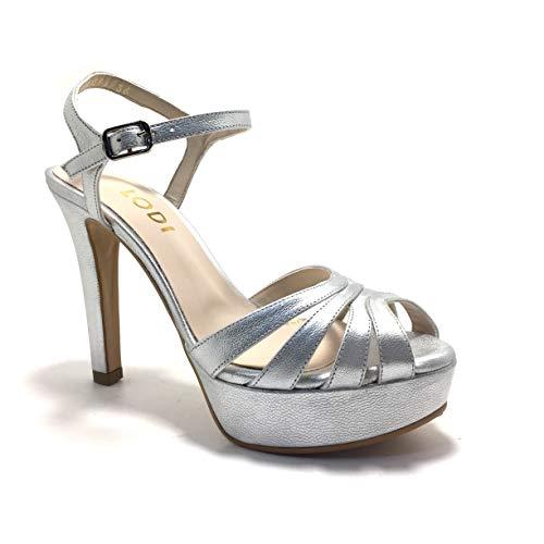 LODI TIGRUS, Sandalias para Vestir, con tacón y Plataforma, para Mujer, Color Metal Plata.