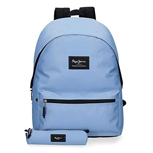 Pepe Jeans Mochila Estuche Aris, Color Azul Claro, 31x44x17.5 cm