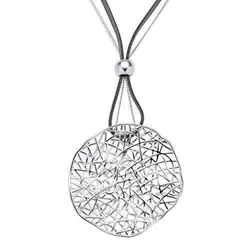 Perlkönig K-4276 Kette Halskette | Damen Frauen | Gebogener Kreis | Gitter in Silber Farben | Nickelabgabefrei