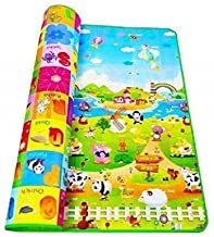 FIgment Anti Skid Double Sided Waterproof Crawl Play Waterproof Floor Mat for Babies and Kids (Green ; Large Size 120 x 180 cm)