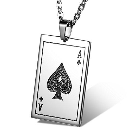 cupimatch Herren Damen Cool Edelstahl Ace of Spades Card Poker Anhänger Halskette 55,9cm Kette Weihnachtsgeschenk Fashion Schmuckset