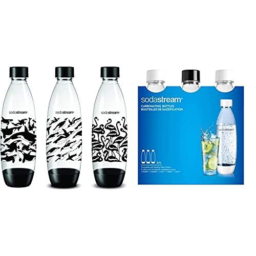 Sodastream - Set di 3 Bottoni, 1 l, Colore: Nero & SodaStream 3 Bottiglie per gasatore d'Acqua, Capienza 1 litro, Modello Fuse, Compatibili con Modelli Gasatore Source, Play, Power, Spirit, Fizzi