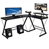Halter L Shaped Gaming Desk, Modern Corner Desk for Small Space Home Office, Corner Computer Desk for Writing Study Work, L Desk Table with Monitor Stand Riser, Black, 59 Inches
