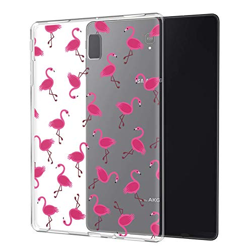 ZhuoFan Samsung Galaxy Tab S4 10.5 Case, Cover Silicone Translucent with Pattern Slim Shockproof Soft Gel TPU Shell Sleeve Skin for Samsung Tab S4 10.5 SM-T830 / T835, Flamingos