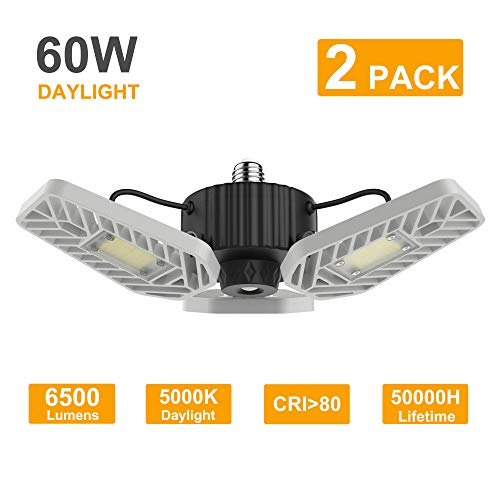 LZHOME 2-Pack LED Garage Lights, 6500Lumens E26/E27 Adjustable Trilights Garage Ceiling Light,60W LED Garage Light, CRI>80, 5000k Nature Light,Garage Lights with Adjustable Panels(No Motion Activate)