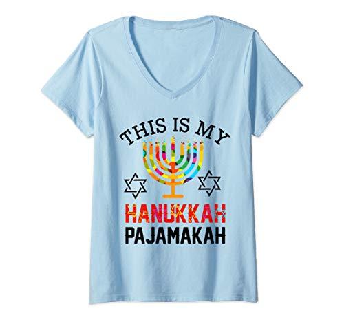 Womens This is My Hanukkah Pajamakah funny hanukkah pajama gift V-Neck T-Shirt