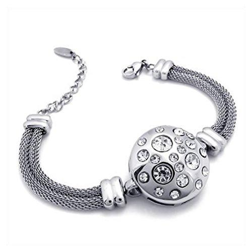 KONOV joyas pulsera para mujer–redondo Shamballa Charm Fantasía–acero inoxidable–para mujer–Cadena de mano–Color Plata–con bolsa regalo