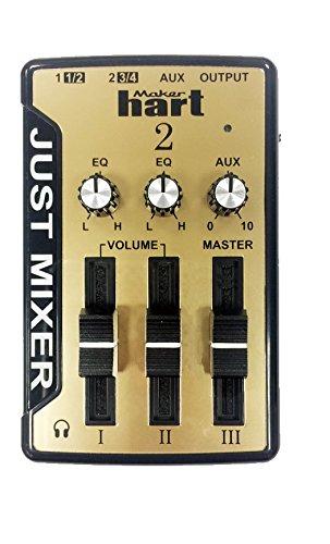 JUST MIXER 2 Mezclador de Audio/DJ - Mezclador estéreo compacto de escritorio con alimentación USB con 3 entradas/2 salidas (3.5mm) además de salida de audio USB (Dorado)