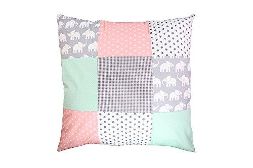 ULLENBOOM ® Baby Patchwork Kissen 60x60 cm Elefant Mint Rosa (Made in EU) - mit Füllung & weichem Kissenbezug aus Baumwolle, als Kinderkissen oder Dekokissen im Kinderzimmer
