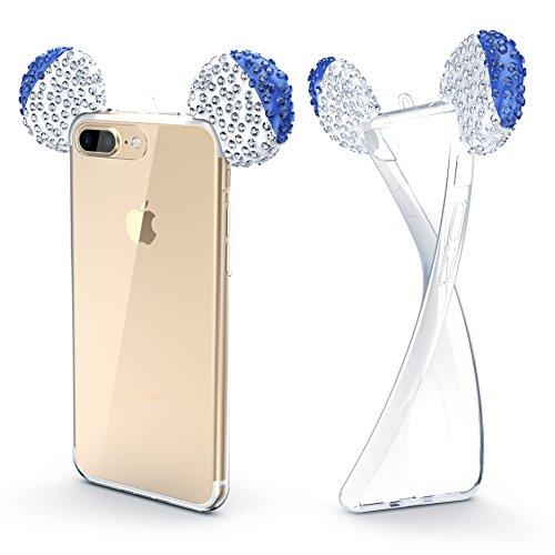 Urcover Custodia Apple iPhone 7/8 Plus Orecchie da Topolino, Cover Protettiva in Silicone Trasparente Morbida, Back Case con Strass Brillantini Femminile Donna - Blu Argento