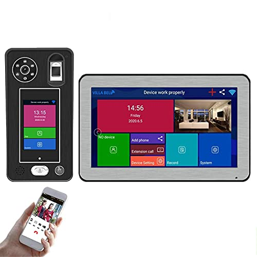 ZCZZ Videoportero inalámbrico WiFi, videoportero, intercomunicador, cámara de visión Nocturna 1080P + Monitor de 10 Pulgadas, aplicación de reconocimiento Facial con Huella Dactilar desbloqueada