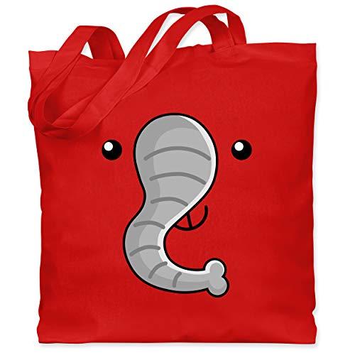 Shirtracer Karneval & Fasching Kinder - Elefant Kostüm - Unisize - Rot - einkaufstasche baumwolle - WM101 - Stoffbeutel aus Baumwolle Jutebeutel lange Henkel