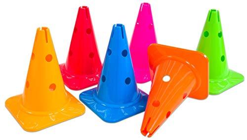 Preisvergleich Produktbild Betzold Kegel mit Löchern - Agility Pylonen Kinder Baustelle Kegel Koordinationstraining Markierungshütchen Verkehrshütchen Spielfeldmarkierung Verkehrskegel Fussball Hütchen