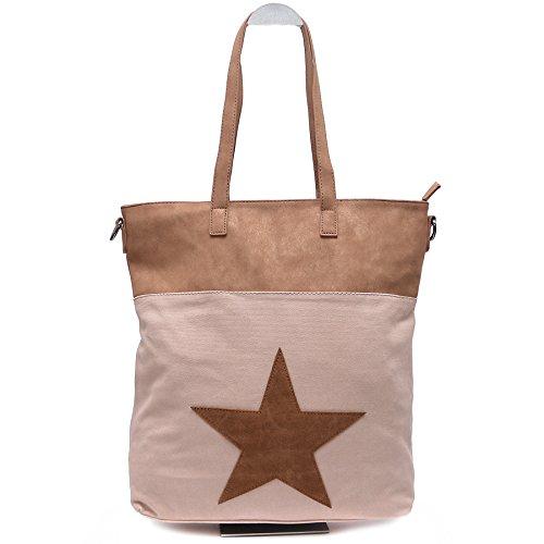 Vain Secrets Sternen Henkel Handtasche Damen Shopper mit Schulterriemen in 3 Farben (Länge 38 Cm - Höhe 34 Cm - Breite 10 Cm, Rosa)