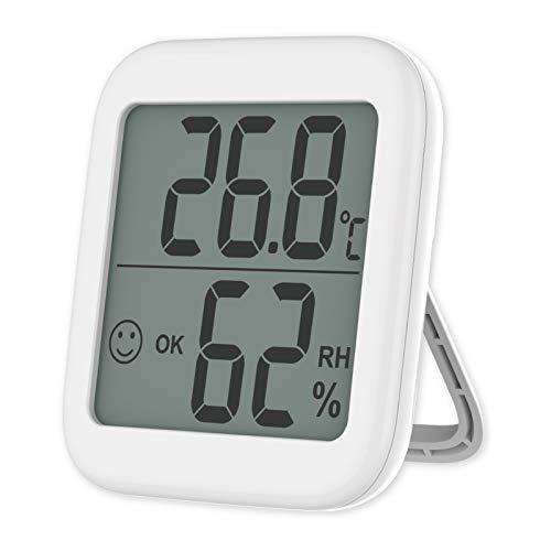 VICKSONGS Termometro Digital Casa para la Humedad del Monitor, Instalación Magnética y de Soporte Higrómetro Medidor de Temperatura Habitación de Bebés, Sala, Oficina (Blanco) (1)