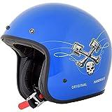 Casco Jet AFX FX-76 Raceway azul brillante Gloss Blue homologado ECE DOT Moto Biker Vintage Talla M