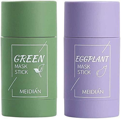 Máscara verde en barra, máscara verde, control profundo del aceite y anti-acné, elimina las espinillas, blanquea la piel, máscara que encoge los poros de berenjena de té verde (Green+eggplant Mask)