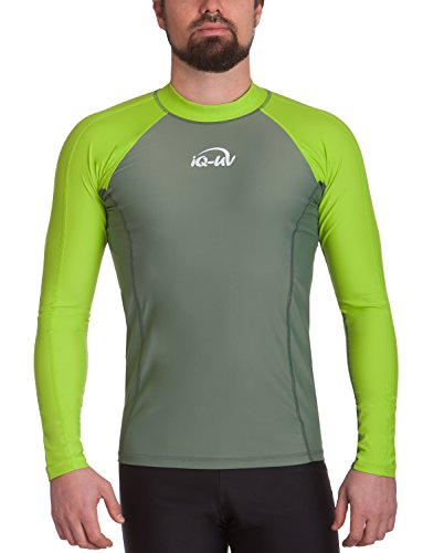 iQ-UV Herren UV-Shirt IQ 300 Watersport Long Sleeve, Grün (Neo-Grün/Olive), XXL (56)