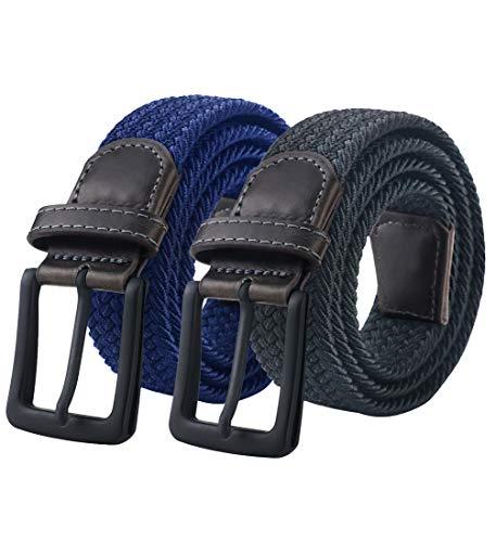Elastic Belt, Mens Belt, Braided Belt,Stretch Woven Belt,Black Belt Buckle Stretch Woven Belt 35-41