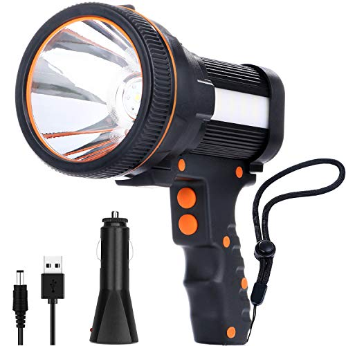Ricaricabile 7800 Lu Super LED Luminoso Searchlight Spotlight Impermeabile Luce LED Torcia 6600 mAh Torch Lantern Flashlight (Black)