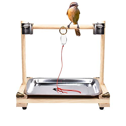 HoGau Vogel Speeltuin Hout Training Vogel Stand plank Wax Mond Shrike Lijster Papegaai Myna Vogelhals Stand Peppercorn Stand Stick Ladders, C, Meerkleurig