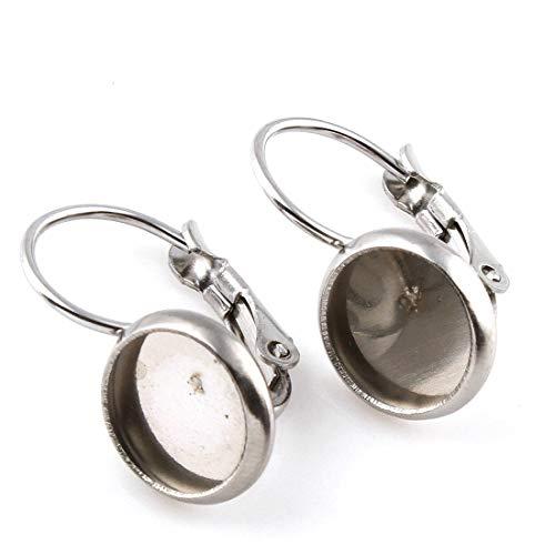 Perlin 2stk Edelstahl Ohrstecker Klappbrisuren Fassung für 10 mm Cabochon Ohrhänger Ohrringe Ohrhaken in Silberfarben M500