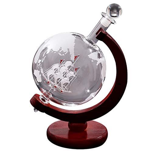 YWARX Licorera para Whisky como Globo Terráqueo, Botella con Grabado de Mapa del Mundo - Barco en el Interior - Decantador - Fabricado en Mano - Volumen: 850 ml/1000ml,850ml+woodenshelf