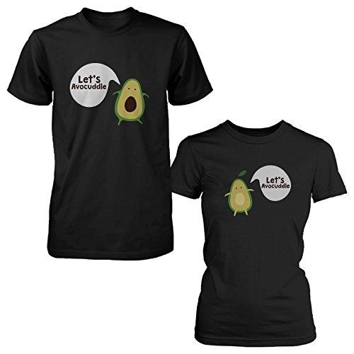 365 Printing Let's Avocuddle Cute - Camiseta para Pareja, diseño de Aguacate, Color Negro - Negro - Hombre-X-Large/Mujer-Medium