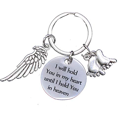 Memorial Gifts for Loss of Loved One - I Will Hold You in My Heart Until I Hold You in Heaven Angel Keychain Baby Loss Sympathy Gift