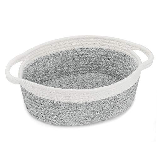 "ABenkle Small Basket,12""x 8"" x 5"" Shelf Storage Baskets, Small Cute Rope Basket Room Storage Chest Box, Cat Basket, Empty Gift Basket with Handles (Grey White)"