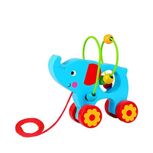 Tooky Toy Jouet à tirer Elephant en bois, TKE009, Multicolore