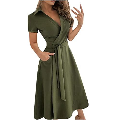 Damen Sommer V-Ausschnitt Kleid Elegantes Kurzarmkleid Einfarbig Mittellanges Kleid Lose Hohe Taille Verbandkleid Cocktail Einfachen Stil Partykleid