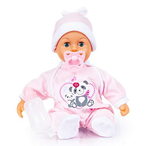 Bayer Design 93824AW Babypuppe First Words, Schlafaugen, Weichkörper, 24 Babylaute, mit Schnuller und Flasche, 38cm, rosa mit Panda Motiv