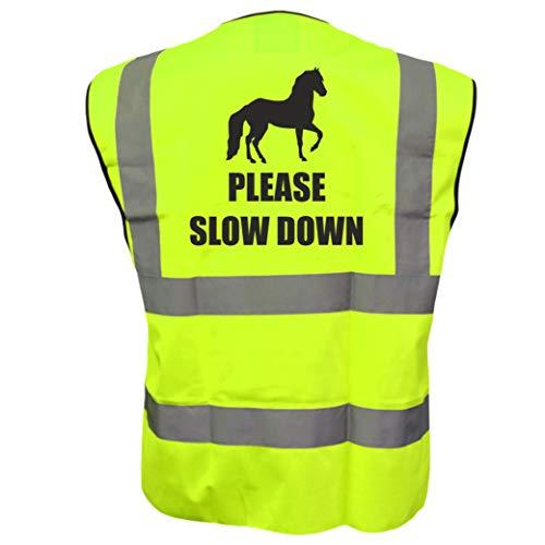 Equine Please SLOW DOWN kamizelka jeździecka bezpieczeństwo odblaskowa plus Brook Hi Vis UK kod zniżkowy na następne zamówienie