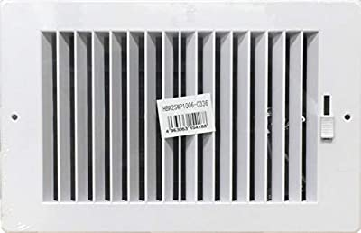 """Two-way plastic side wall/ceiling register in white 10""""w X 6""""h for duct opening (outside dimension is 11.75""""w X 8""""h)"""