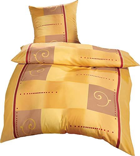 Erwin Müller Bettwäsche, Bettgarnitur Single-Jersey Ocker-gelb-rot Größe 135x200 cm (80x80 cm) - 100% Baumwolle, pflegeleicht, bügelleicht, mit praktischem Reißverschluss (weitere Größen)