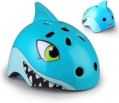 Lelesta Casco per Bambini,Cartoon Dinosaur,Shark,Fox,Teddy Bear Cycling Riding Skating Caschi Bambini,Casco da Bicicletta Traspirante Sicurezza,Fascia Regolabile Adatto per Bambini/Ragazzi (Small)
