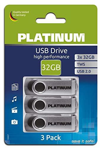 Platinum TWS USB-Stick 32 GB 3-Pack USB 2.0 USB-Flash-Laufwerk - 3er Pack Speicher-Stick in schwarz-Silber inkl. Öse zur Befestigung am Schlüsselanhänger