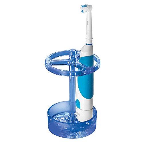 iDesign Eva Zahnbürstenhalter, große Zahnbürsten Halterung aus Kunststoff, ozeanblau