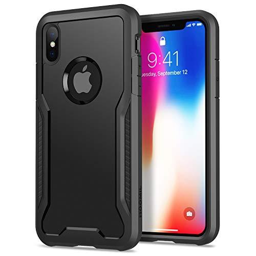 HOOMIL Funda para iPhone XS, Funda para iPhone X, Antigolpes Carcasa para Apple iPhone XS/X(5,8 Pulgadas), Armor Protección Silicona TPU Bumper Case - Negro