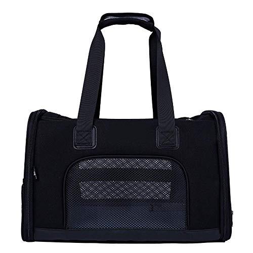 JJL Soporte para mascotas de lado suave aprobado para la aerolínea, bolso de viaje de bajo perfil con ropa de cama de lana, cremalleras de primera calidad y cierres de seguridad, compatibilidad con el
