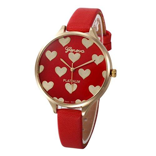 Xinantime Relojes Mujer,Xinan Reloj de Pulsera Analógico de Cuarzo Cuero Imitación (Rojo)