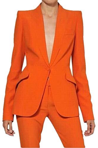 Orange Peak Lapel Women Pantsuits(Jacket+Pants) Ladies Business Suits Female Tuxedo Custom Made