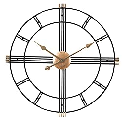 Wall Clock 24 Inch Metal Wrought Iron Modern Minimalist Style Black Metal Clock Frame Battery-Driven Silent Operation, No Ticking, Suitable for Living Room Bedroom Decoration