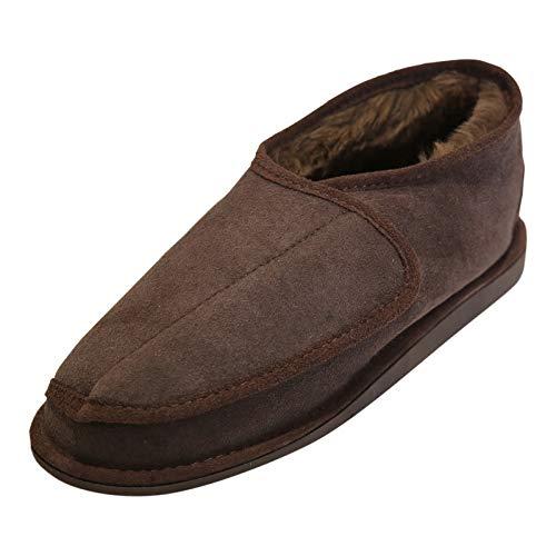 Hollert German Leather Fashion Lammfell Hausschuhe - Christel Herren Damen Fellschuhe mit Klettverschluss Schuhgröße EUR 38, Farbe Braun