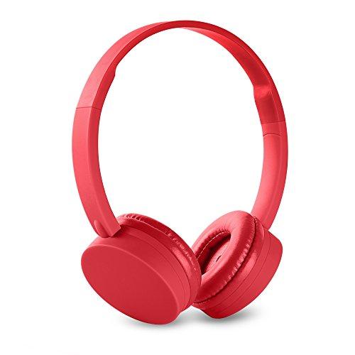 Energy Sistem BT1 - Auriculares Bluetooth con micrófono (Control Talk, batería recargable, ultraligeros) color rojo coral
