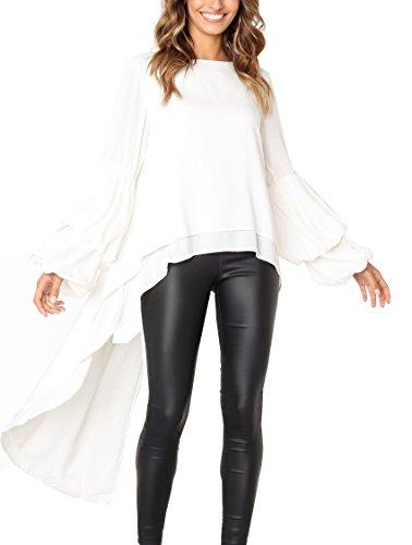PRETTYGARDEN Women's Lantern Long Sleeve Round Neck High Low Asymmetrical Irregular Hem Casual Tops Blouse Shirt Dress (White, Medium)