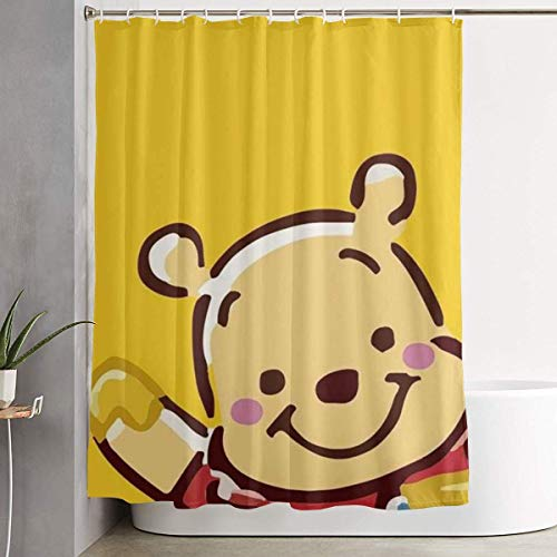 992 Colaecy Duschvorhang Funny Fabric Shower Curtain Pooh with Honey Waterproof Bathroom Decor with Hooks 60 X 72 Inch