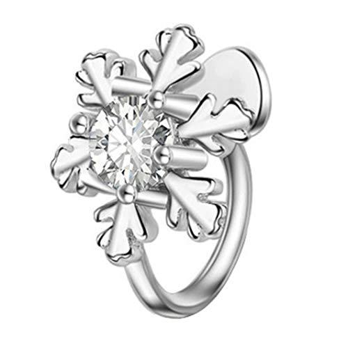 MAGFUN Clip de Oreja de Copo de Nieve Flor Femenina Sin Pendiente Perforado Peque?o Relleno Fresco Copo de Nieve de Circonita CúBica, Color Plateado